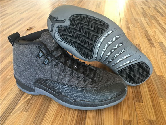 "Womens Air Jordan 12 ""Wool"" Shoes Black/grey"